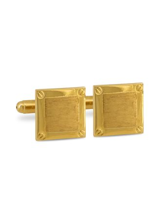 Gold color Cufflinks . MarZthomson Square Cufflinks With Four Mini Screw Head -