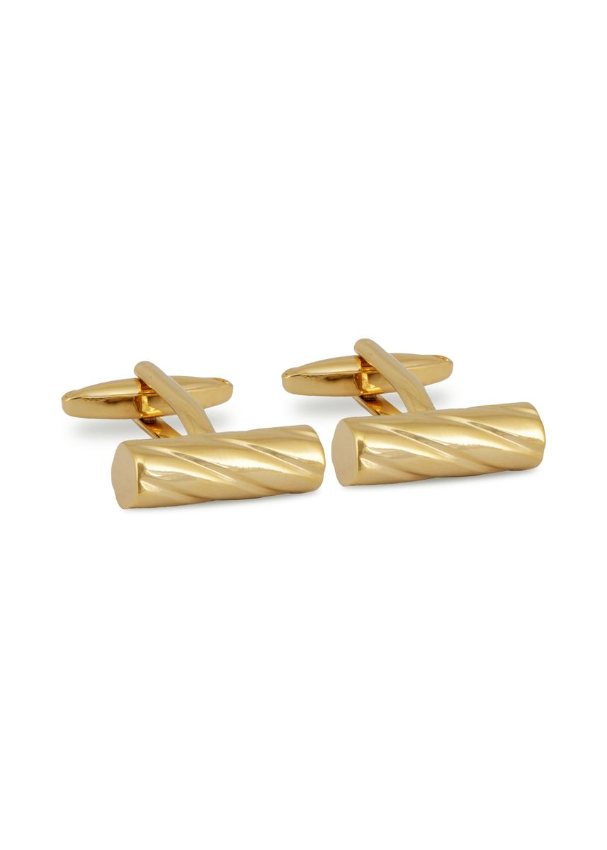 Gold color Cufflinks . MarZthomson Cylinder With Drill Bit Texture Cufflinks -