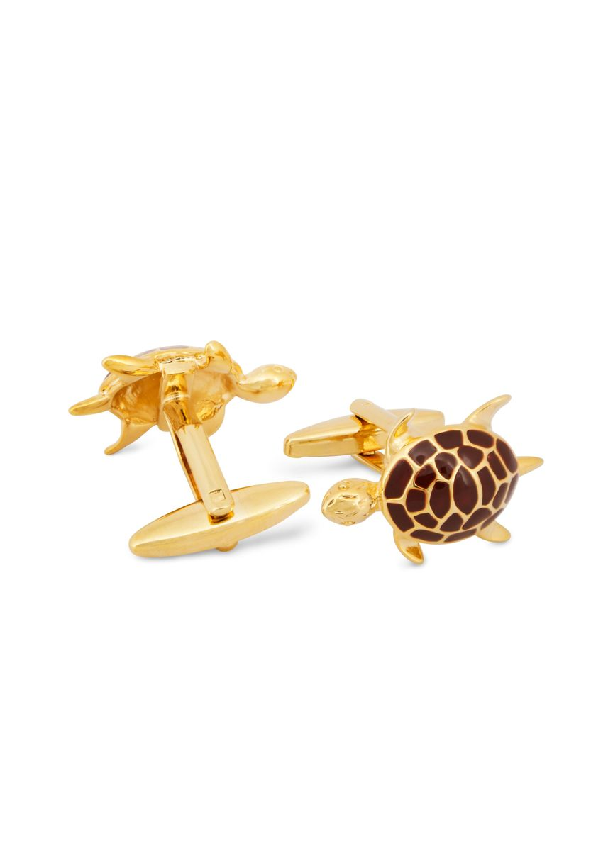 Gold color Cufflinks . MarZthomson Turtle Cufflink -