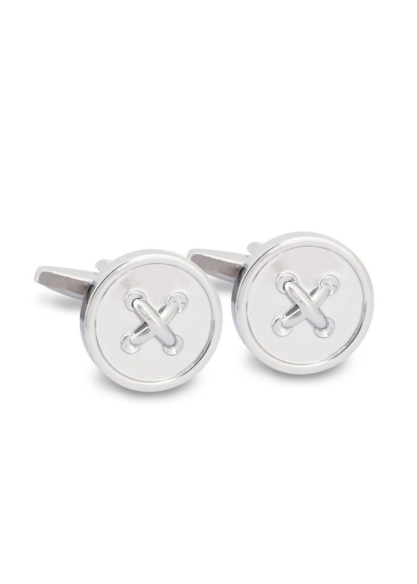 Silver color Cufflinks . MarZthomson Button Cufflinks -