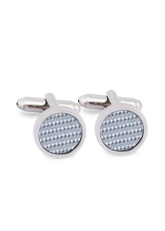 Silver color Cufflinks . MarZthomson Round Cufflinks With Grey Carbon Fibre Centerpiece -