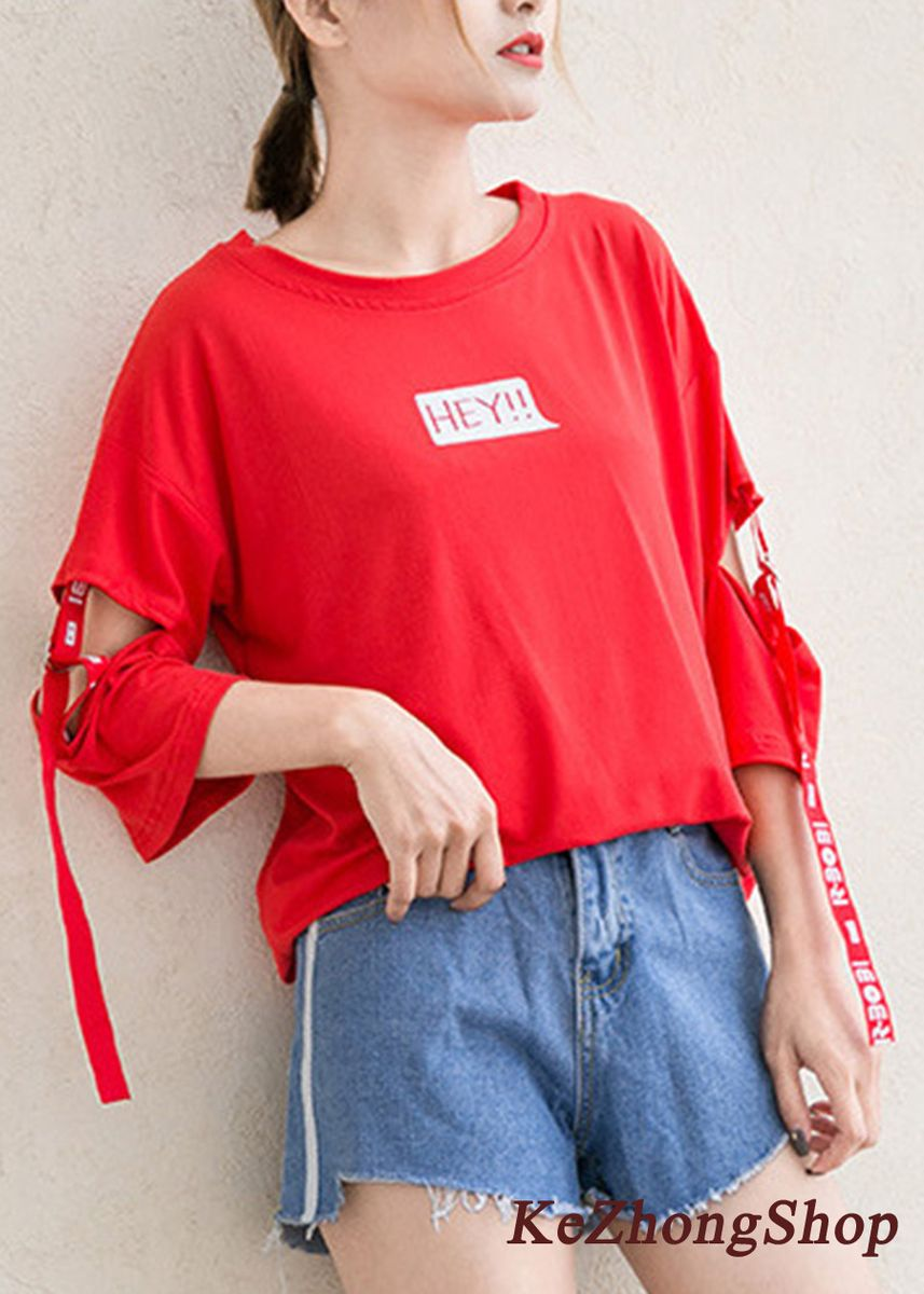 Red color Tees & Shirts . Hollow Letter Ribbon Stitching Shirt -