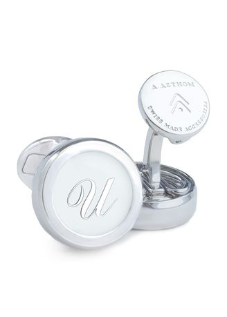 Silver color Cufflinks . A.Azthom Monogram Cufflinks with Clip-on Button Covers - U -