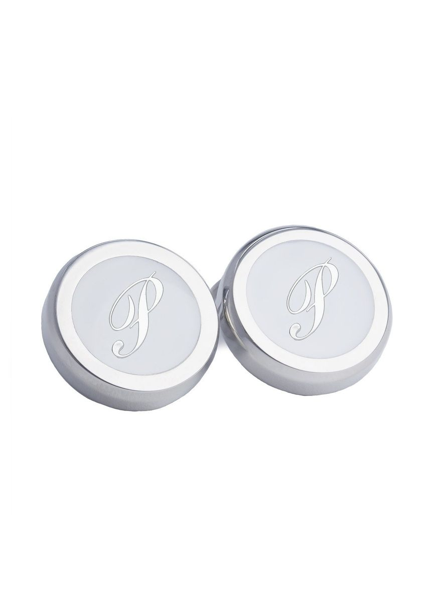 Silver color Cufflinks . A.Azthom Monogram Clip-on Button Covers - P -