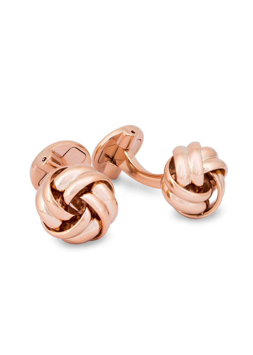Pink color Cufflinks . A.Azthom Gordian Knot Rose Gold-tone Cufflinks -