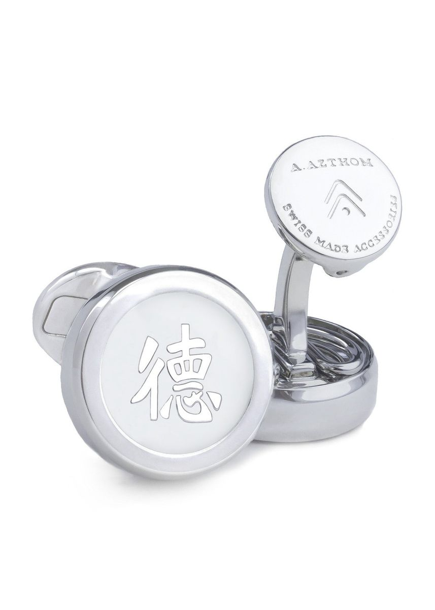 Silver color Cufflinks . A.Azthom Chinese Character Cufflinks with Clip-on Button Covers - De De -