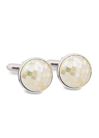 White color Cufflinks . MarZthomson Mother Of Pearl Mosaic Round Cufflinks -