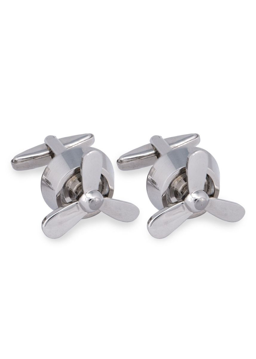 Silver color Cufflinks . MarZthomson Rotatable Propeller Fan Cufflinks -