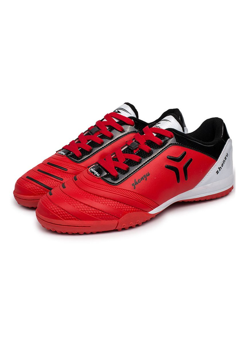Red color Sports Shoes . Zhenzu Women's Turf Trainer Unisex Athletic Soccer Shoe -