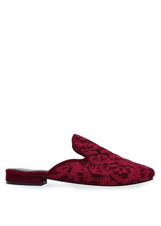 Maroon color Flats . Sabrina Red Lace Mules -