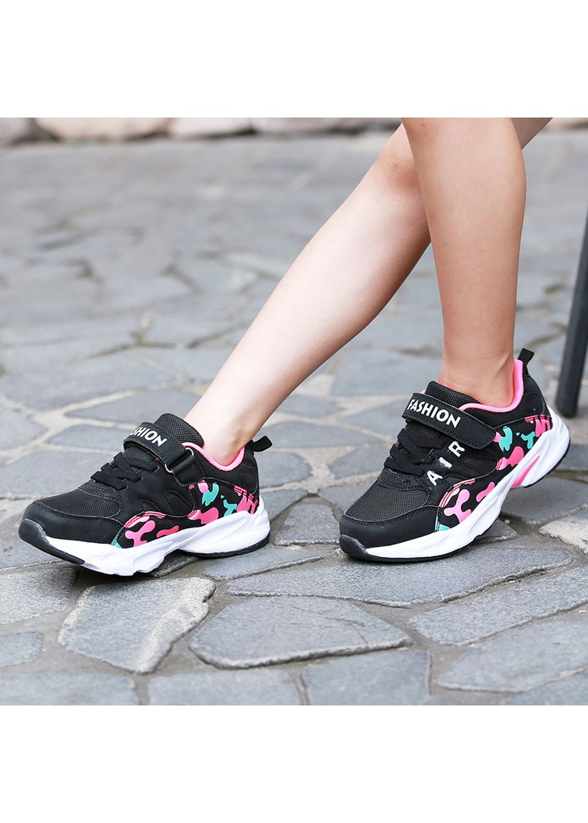 ดำ color รองเท้า . 2018 Girls' sneakers breathable running shoes -