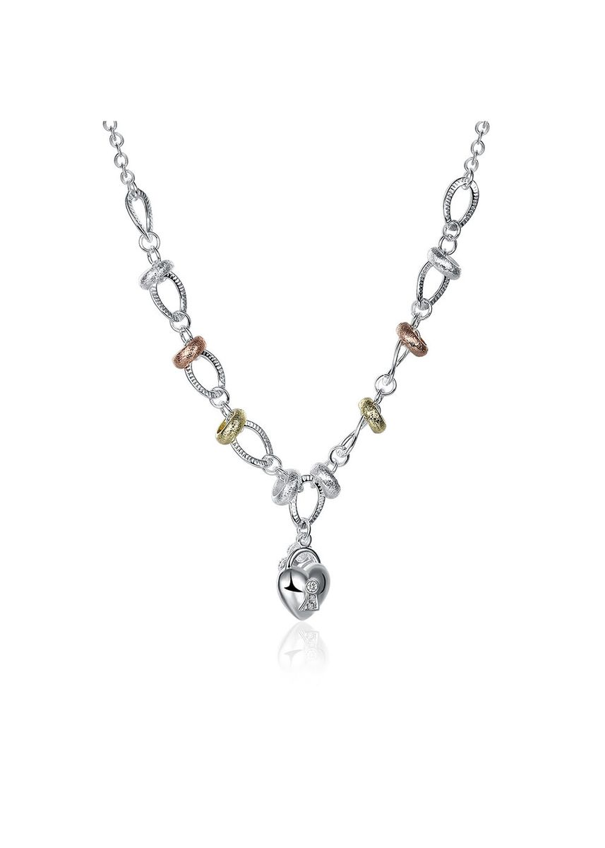 Silver color  . Tiaria Neutral Heart-Shaped Necklace LKNSPCN212 Silver Plated Aksesoris Perhiasan Kalung -
