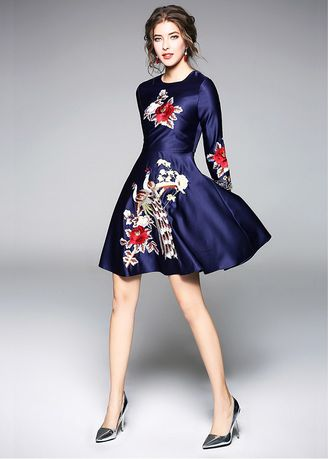 Navy color Dresses . Navy Embroidered 3/4 Sleeve Midi Dresses -