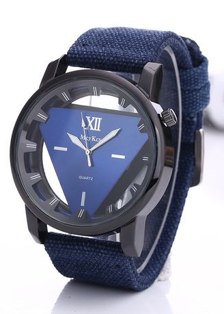 Blue color Analog . Men's Sport Hollowed Down Triangle Canvas Watch -