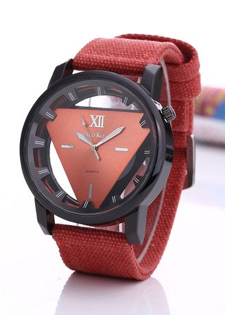 Orange color Analog . Men's Sport Hollowed Down Triangle Canvas Watch -