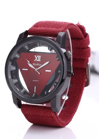 Red color Analog . Men's Sport Hollowed Down Triangle Canvas Watch -