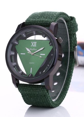 Green color Analog . Men's Sport Hollowed Down Triangle Canvas Watch -
