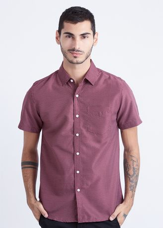 Red color Casual Shirts . Minarno Dottted 06 S/S Shirt -