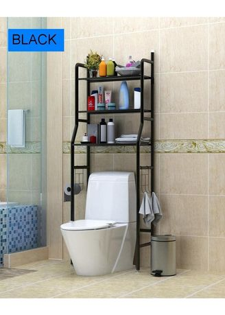 Black color Storage . Rak Toilet Organizer Hitam -