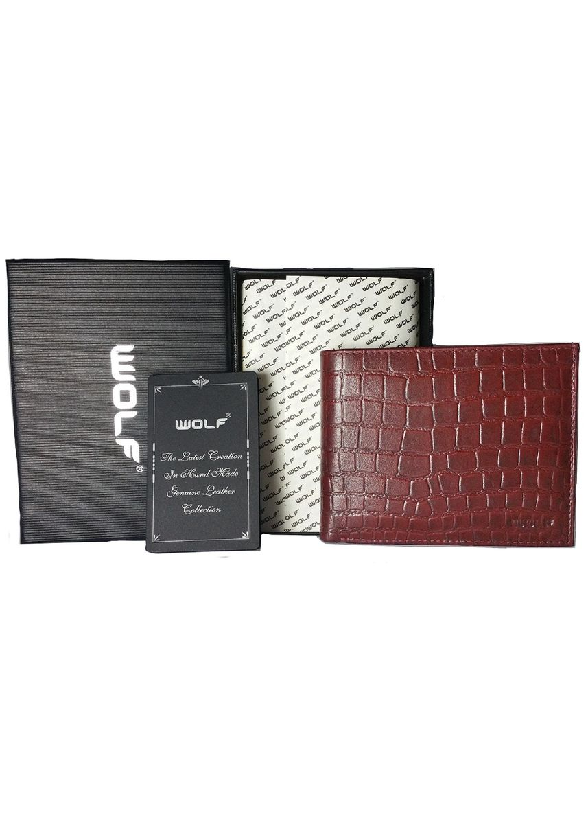 Red color Wallets . Leather Bifold Fashion Wallet for Men - Cherry -