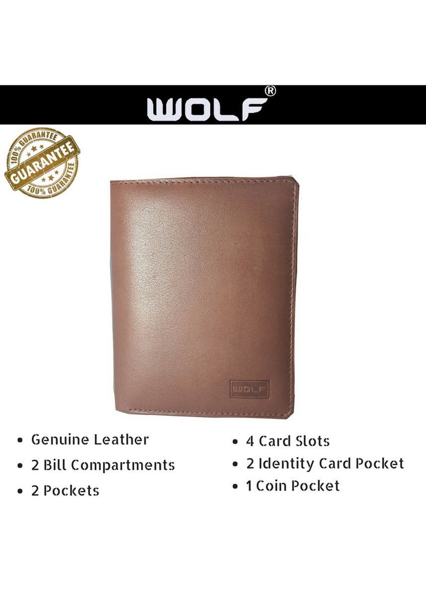 Brown color Wallets . Leather Bifold Fashion Wallet for Men For All Occasions - Brown -