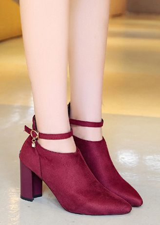 Red color Boots . Plus Size Suede Point Rhinestone Martin Boots -