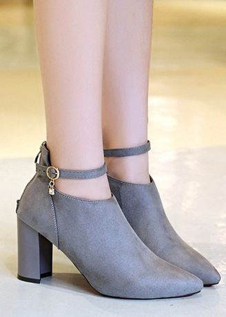 Grey color Boots . Plus Size Suede Point Rhinestone Martin Boots -