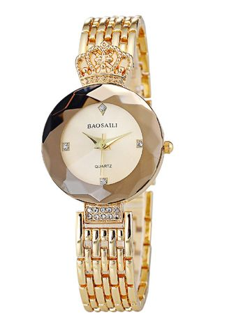 Gold color Analog . Fashionable Retro Crown Ladies Watch -