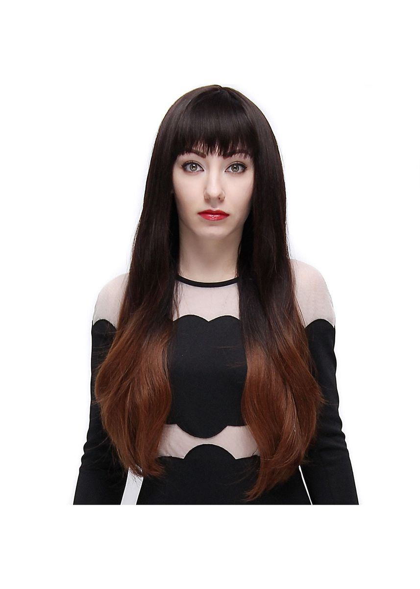 Black color Hair Accessories . Full Bangs Slightly Curly Long Hair Wigs Natural Black Brown Gradient Color for Women -