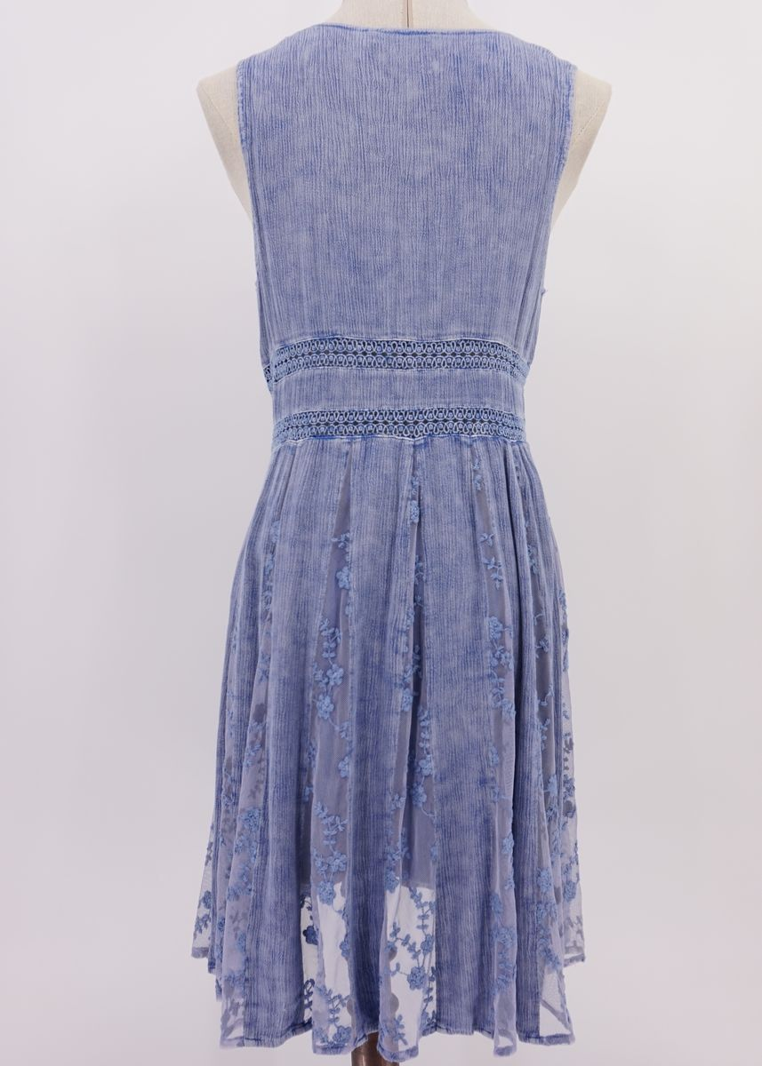 Blue color Dresses . Women's Maxi Washed Dress in Washing Style -