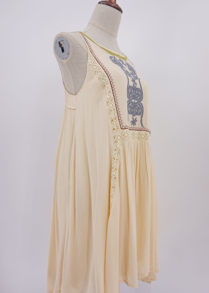 Beige color Dresses . Women's Embroidered Style Dresses -