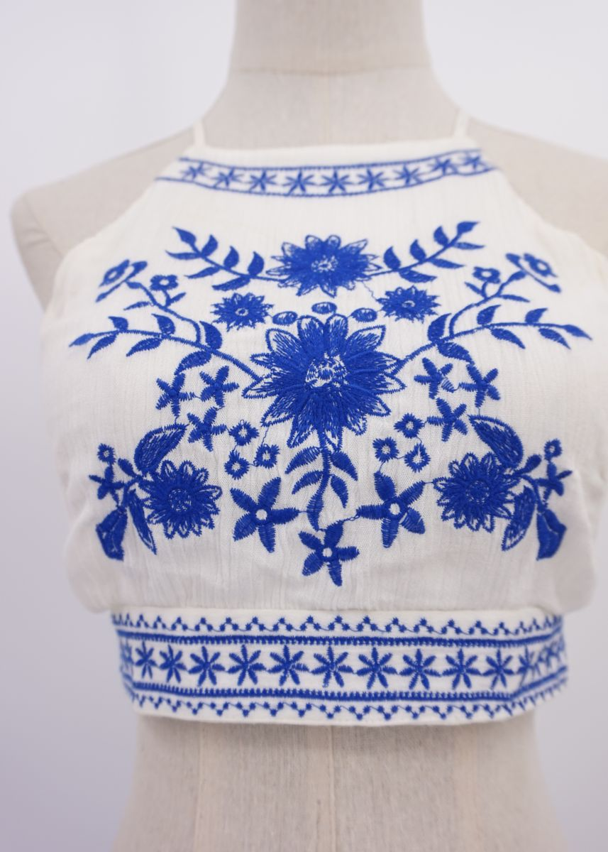 White color Tops and Tunics . Women's Embroidered Halter Neck Cross Back Top -