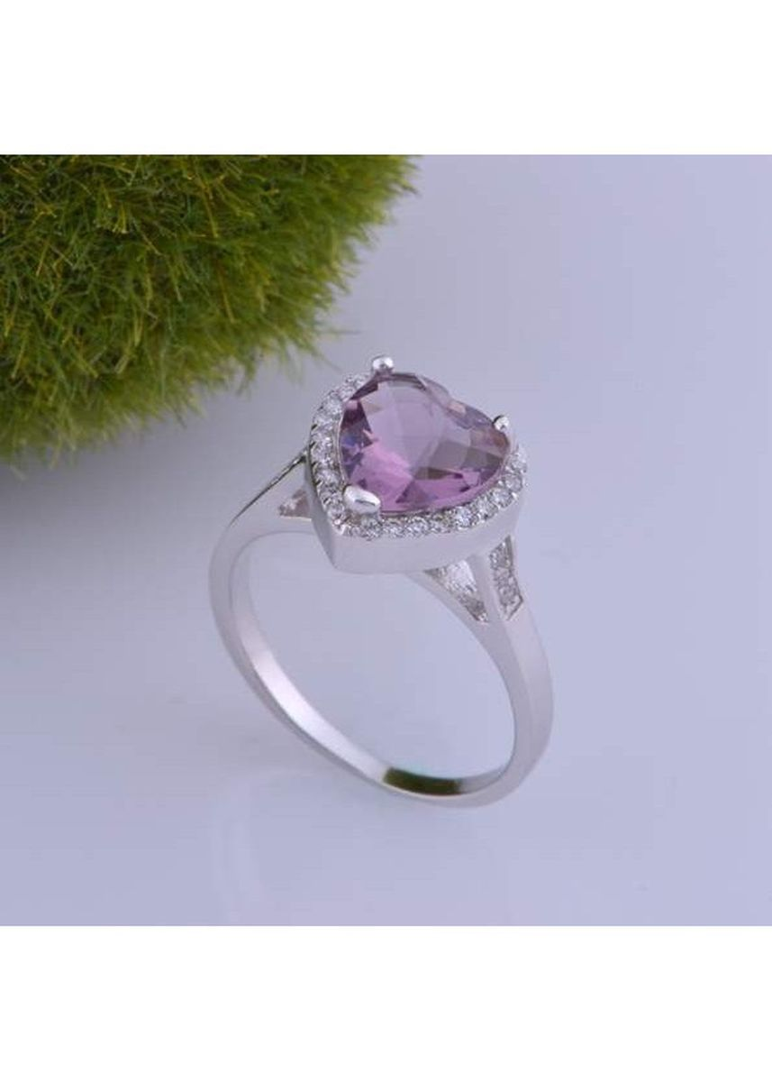 Purple color  . 18K White Gold Plated Amethyst Popular Love Ring -