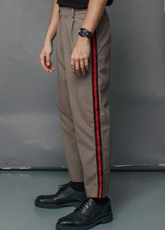 Brown color Casual Trousers and Chinos . Side Striped Pants No 6 - Unisex -