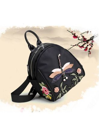 3e6591f8f2 New Handmade Embroidery Dragonfly Lady Backpack