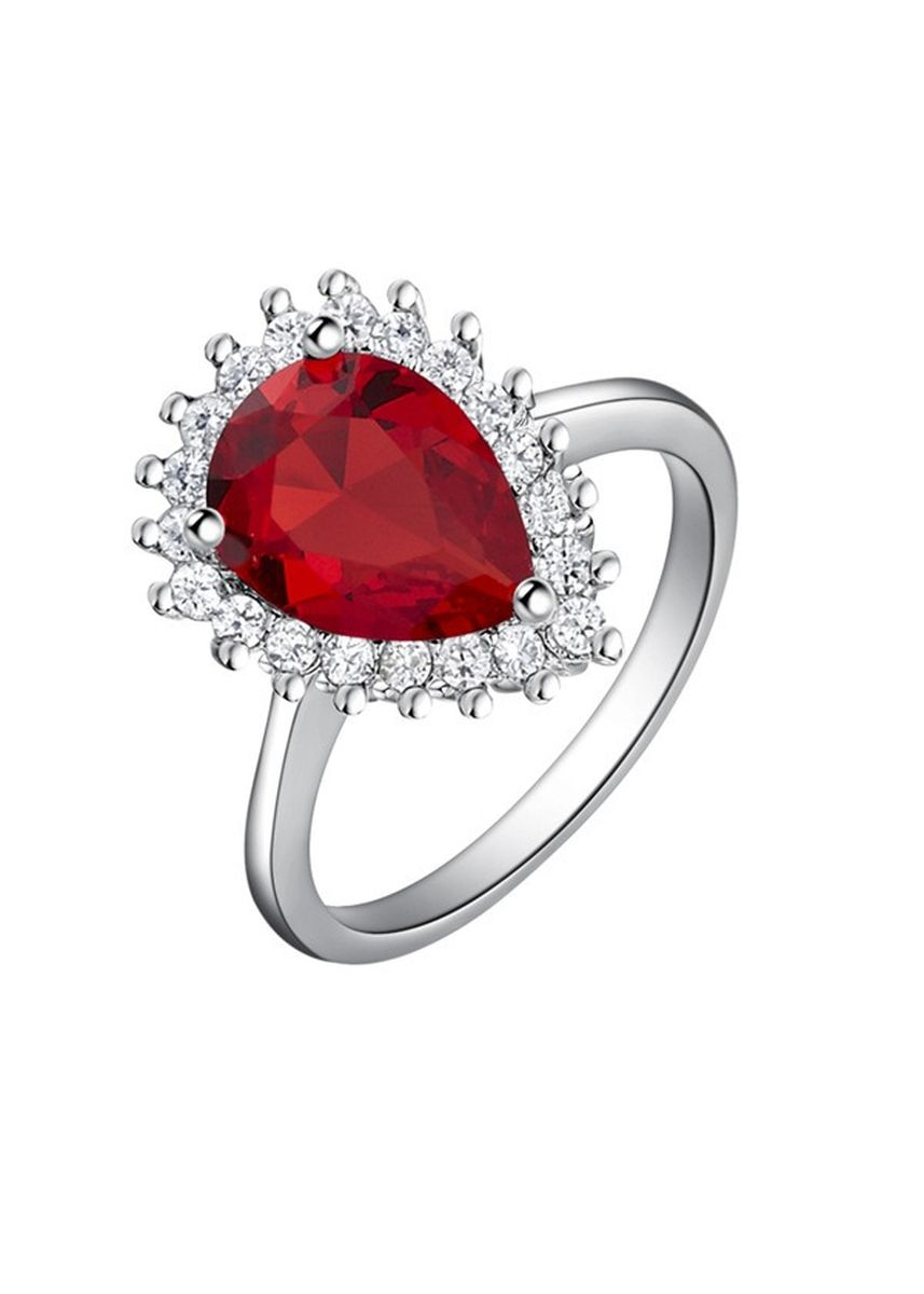 Red color  . Fashion White Gold Plated Water Drop Crystal Women's Ring -