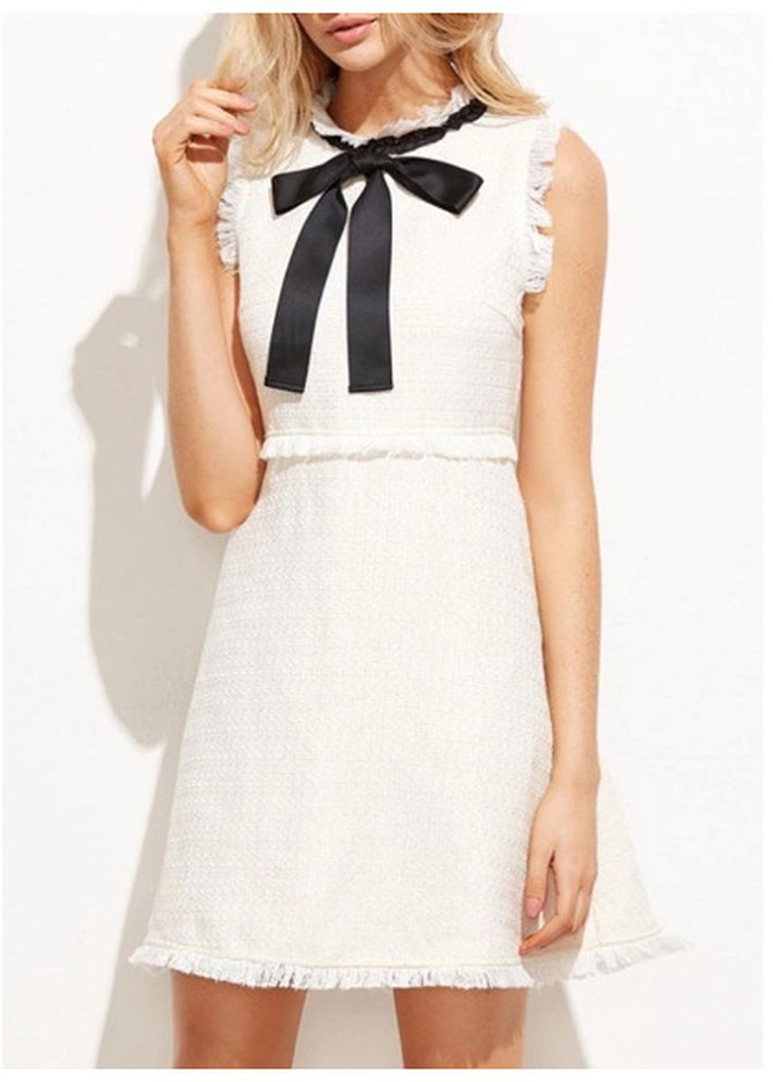 White color Dresses . Women Sleeveless Dress Bow Tie Fringing High Waist -