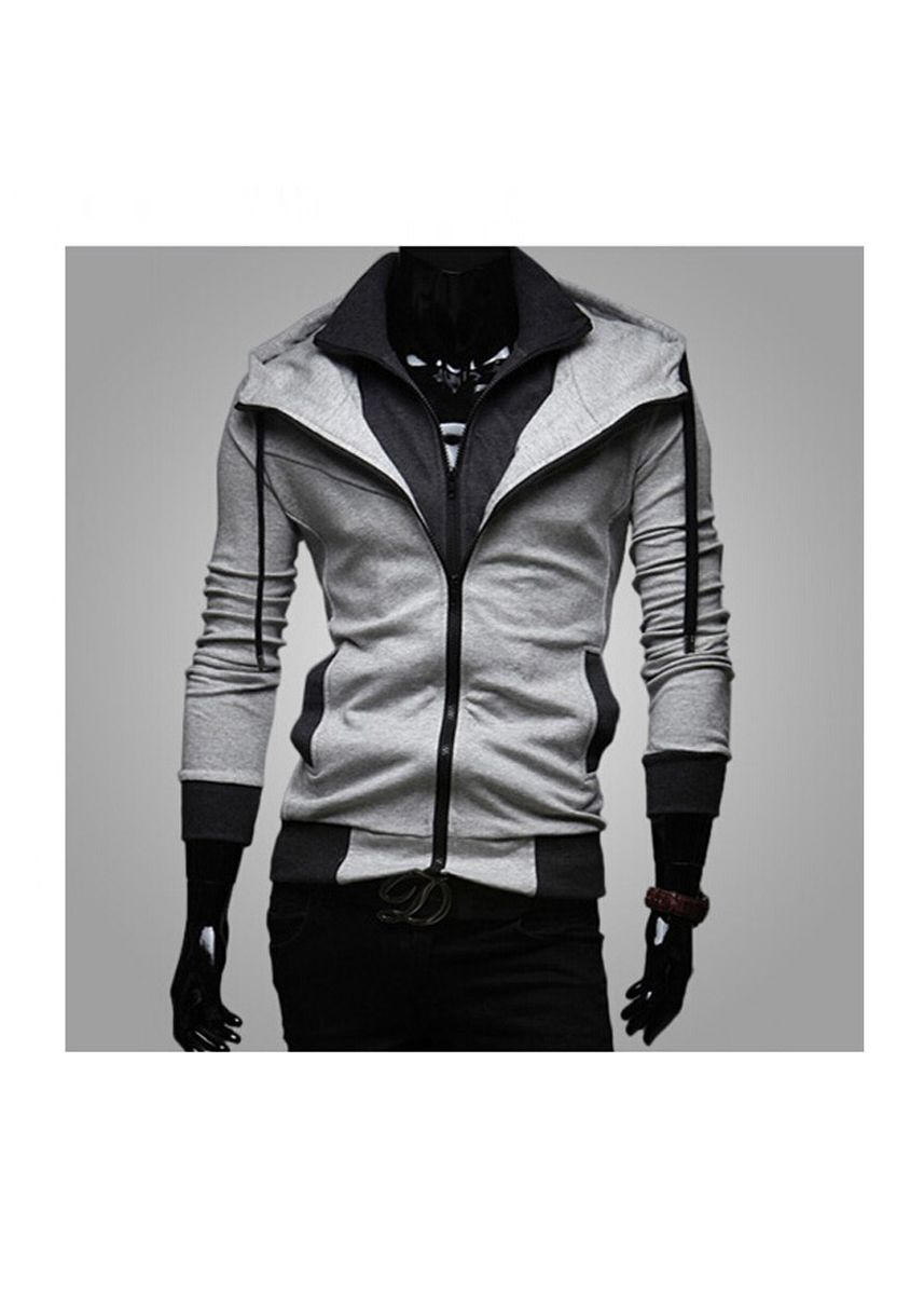 Light Grey color Jackets . Men's Fashion Casual Slim Hit The Color Hooded Sweatshirts Coat -