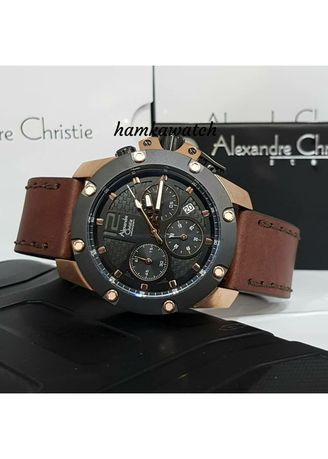 Hitam color Jam Analog . jam tangan pria alexander cristie original ac6290 black rose gold -