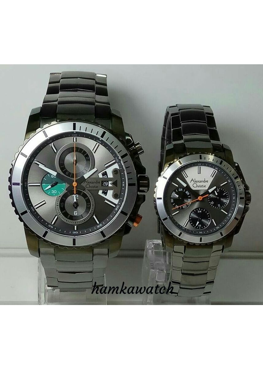 Black color Analog . jam tangan pasangan / couple alexander cristie ac6455 original -