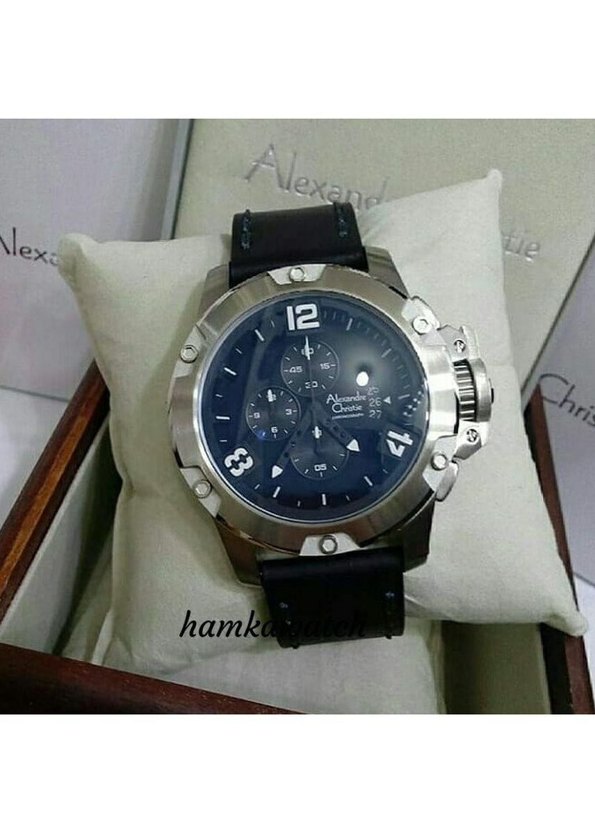 Hitam color Jam Analog . jam tangan pria alexander cristie original ac6295 silver leather black -