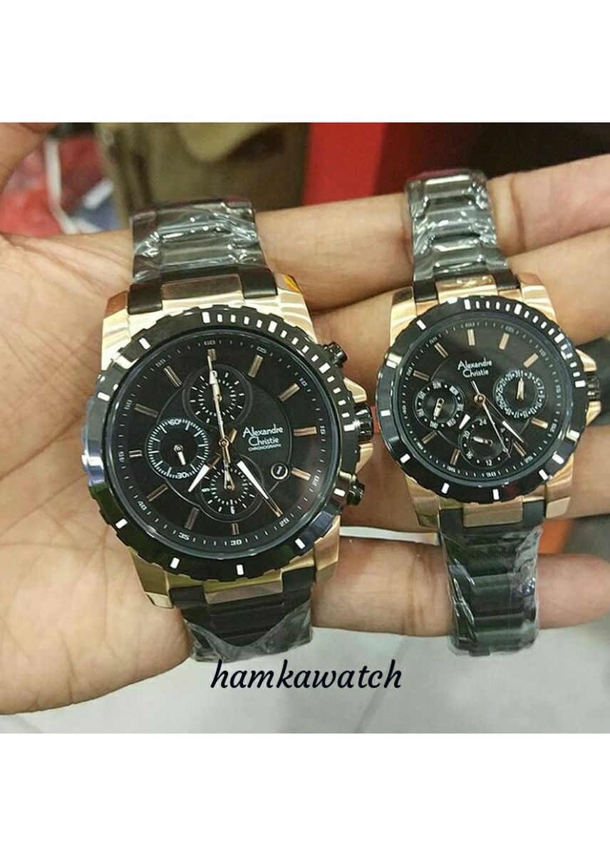 Black color Analog . jam tangan couple alexander cristie ac6141 blackgold | harga sepasang -