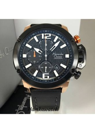 Hitam color Jam Analog . jam tangan pria alexander cristie original ac6487 black rose gold -