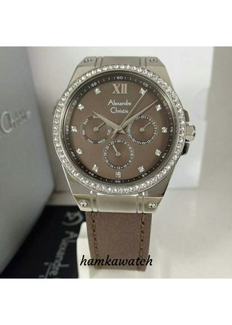 Black color Analog . jam tangan wanita alexander cristie ac2662 silver brown -