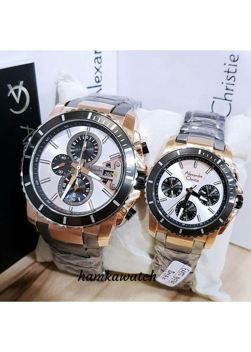 Black color Analog . jam tangan pasangan / couple alexander cristie ac6455 black rose gold -