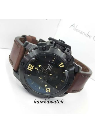 Hitam color Jam Analog . jam tangan pria alexander cristie original ac6295 black leather brown -