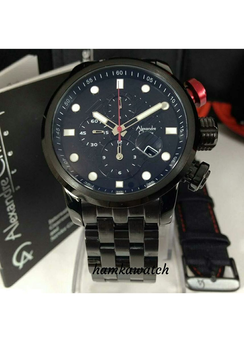 Black color Analog . jam tangan pria alexander cristie original ac6163 black -