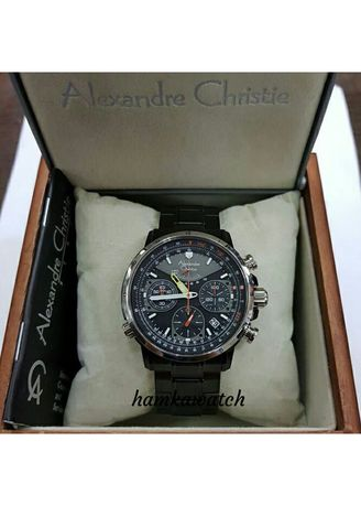 Black color Analog . jam tangan pria alexander cristie original ac6394 black ring silver -