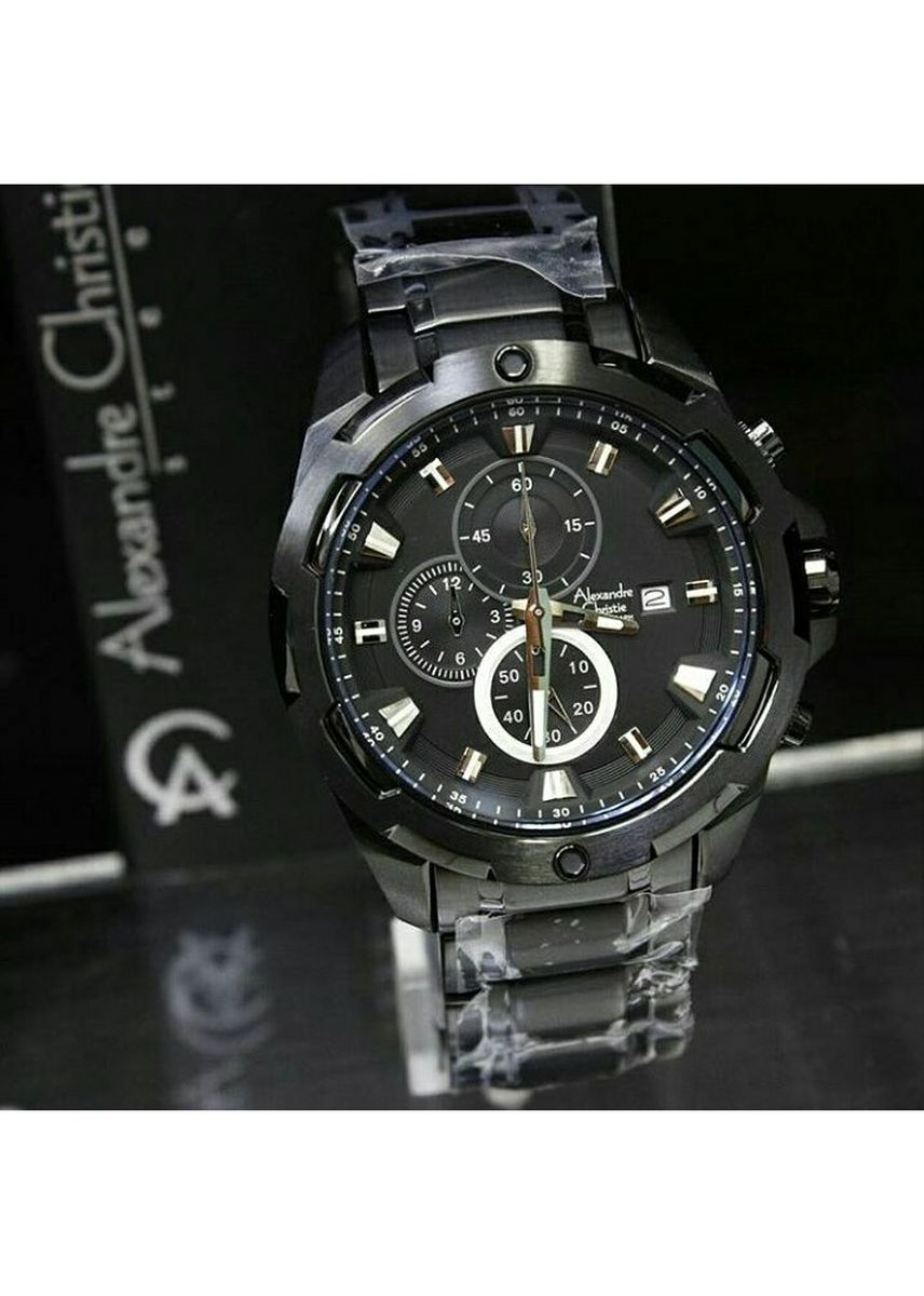 Black color Analog . jam tangan pria alexander cristie original ac6305 full black -