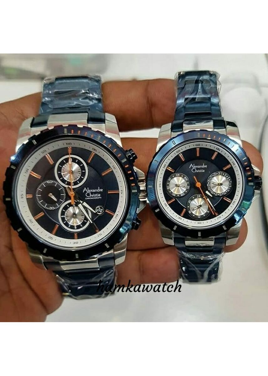 Black color Analog . jam tangan couple alexander cristie ac6141 blue silve | harga sepasang -